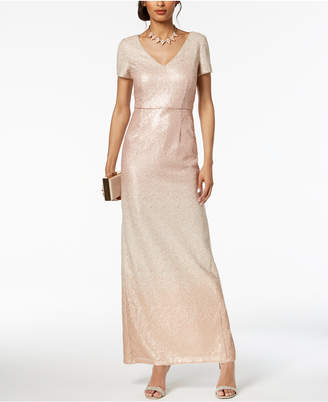 Adrianna Papell Sequined Ombre Gown