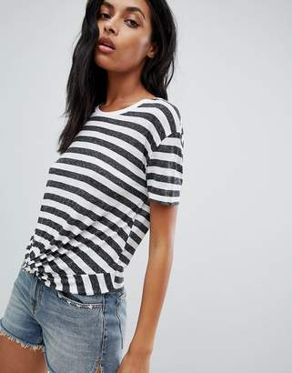 AllSaints knot front t-shirt in stripe