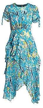 Tanya Taylor Women's Cosette Floral Ruffle Silk-Blend A-Line Handkerchief Dress - Size 0