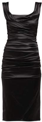 Dolce & Gabbana Draped Silk Satin Midi Dress - Womens - Black