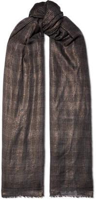 Brunello Cucinelli Metallic Checked Cashmere-blend Scarf - Gray