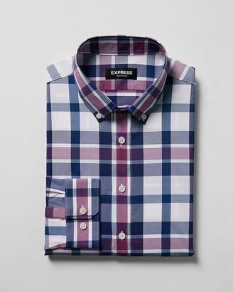 Express Slim Purple Plaid Print Performance Dress Shirt