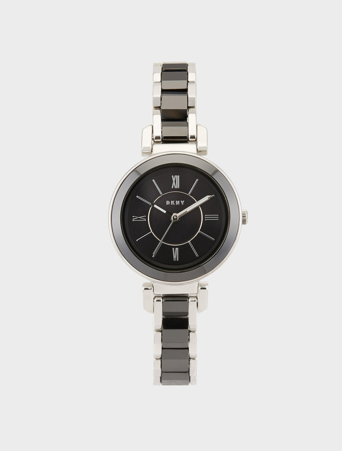 DKNY Ellington 30mm Black Ceramic With Stainless Steel Watch