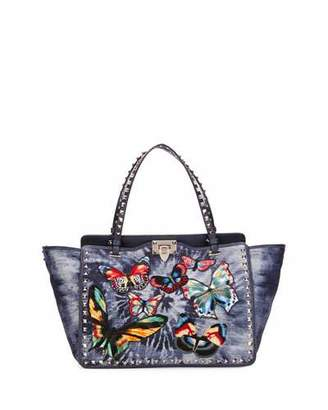 Valentino Rockstud Butterfly-Embroidered Tie-Dye Tote Bag, Denim $2,895 thestylecure.com
