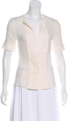 Akris Short Sleeve Silk Button-Up