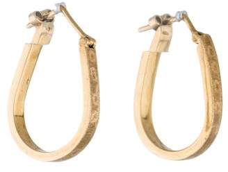 18K Brushed Hoop Earrings