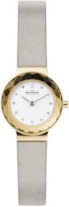 Skagen Leonora Stainless Steel Leather-Strap Watch