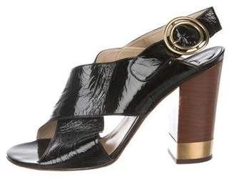 Chloé Patent Leather Crossover Sandals