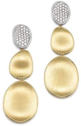 Marco Bicego Diamond Lunaria Three Drop Large Earrings in 18K Yellow Gold