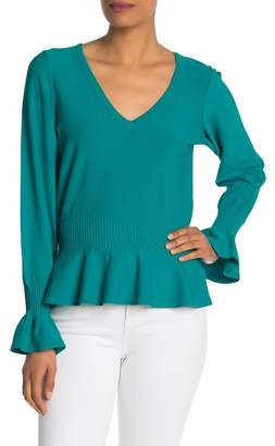 Milly Pintuck V-Neck Pullover