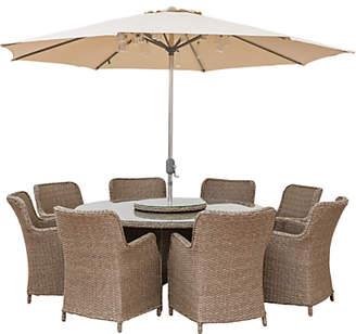 LG Electronics Outdoor Saigon 8 Seat Garden Dining Table / Chairs Set with Parasol, Natural Grey