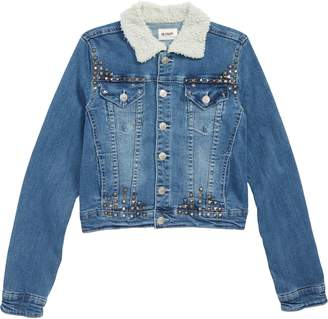 Hudson Mariah Crop Denim Jacket with Faux Shearling Collar
