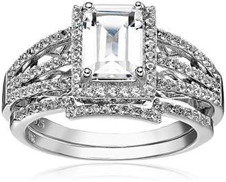 Sterling Silver Created Sapphire Emerald Cut Halo Engagement Ring Set