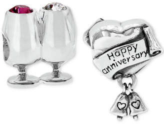 Rhona Sutton 2-Pc. Set Cheers/Anniversary Celebration Bead Charms in Sterling Silver