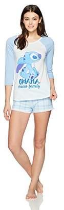 Disney Women's Stitch Long Sleeve Raglan Shorty Set