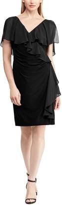Chaps Women's Ruffle Overlay Sheath Dress