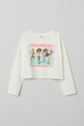 H&M Top with Printed Design - White