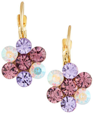 Emily and Ashley Greenbeads By Lavender Crystal Flower Drop Earrings