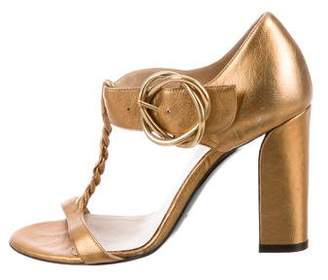 Balenciaga Metallic T-Strap Sandals