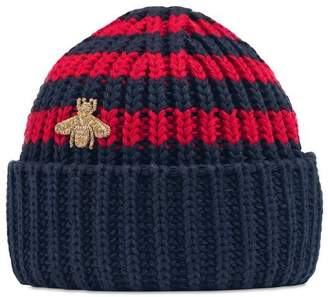 Gucci Baby knit cotton hat with bee