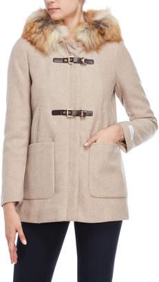 Calvin Klein Wool Faux Fur-Trimmed Belt Coat