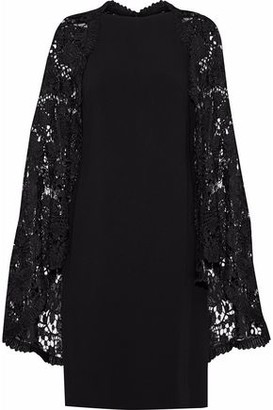 Reem Acra Cape-Effect Guipure Lace-Paneled Crepe Dress