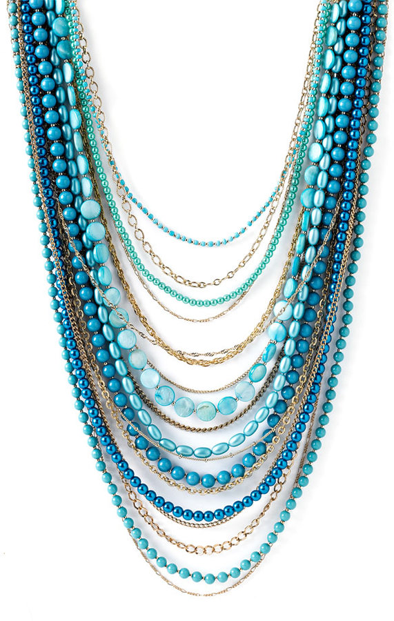 Sequin Beaded Long Multi Strand Necklace
