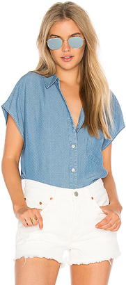 Joe's Jeans Alexandria Short Sleeve Button Up in Blue $138 thestylecure.com