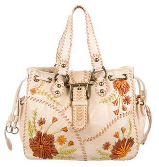 Isabella Fiore Floral-Embellished Leather Tote