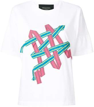 Mr & Mrs Italy striped band appliqué T-shirt