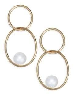 Chicco Zoe 6MM Pearl& 14K Gold Double Hoop Earrings