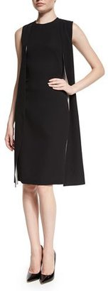 Ralph Lauren Collection Sleeveless Double-Face Cape Dress, Black/Optic White $2,190 thestylecure.com