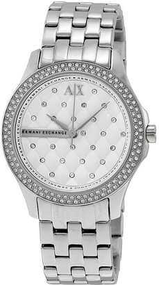 Armani Exchange Lady Hamilton Silver Quilted Dial Ladies Watch