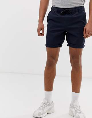 Asos Design DESIGN slim chino shorts with elastic waist in navy