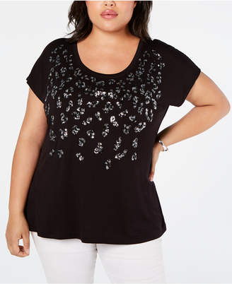INC International Concepts I.n.c. Plus Size Sequin Leopard T-Shirt