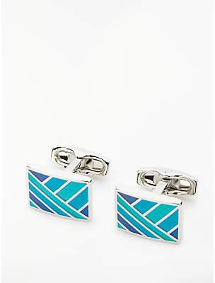 Simon Carter Enamel Square Cufflinks, Blue