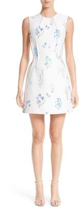 Versace Distressed Floral Jacquard Fit & Flare Dress