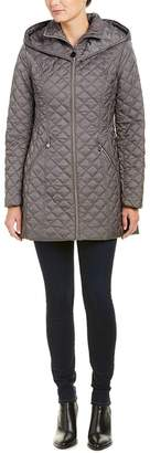 Laundry by Shelli Segal Women's Hooded Quilted Jacket, Coat Grey (M)