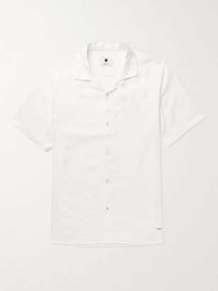 NN07 Miyagi Camp-Collar Garment-Dyed Lyocell and Linen-Blend Shirt - Men - White