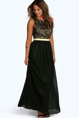 boohoo Boutique Lace & Metallic Maxi Dress
