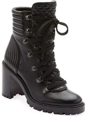 Christian Louboutin Mad Lace-Up Leather Block-Heel Hiker Boots