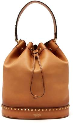 Valentino Twinkle Studs Leather Bucket Bag - Womens - Tan