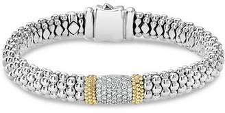 Lagos 18K Gold & Sterling Silver Diamond Lux Pavé Station Bracelet, 10mm
