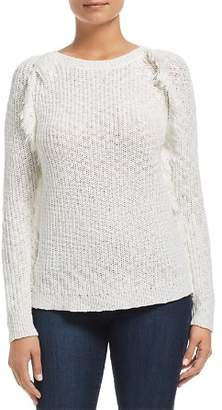 Heather B Frayed Shaker Stitch Sweater