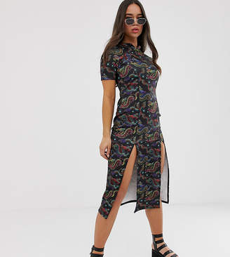 Dragon Optical Rokoko midi length bodycon dress in print with thigh split