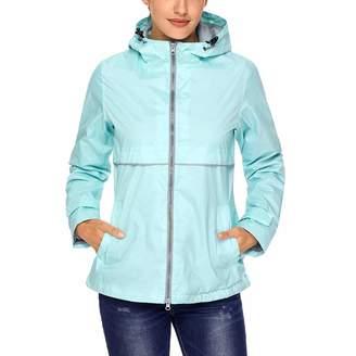 SUNDAY ROSE Women Running Jacket Lightweight Water-Resistant Hooded Rain Jacket