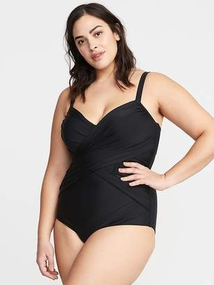 Old Navy Wrap-Front Secret-Slim Plus-Size Swimsuit