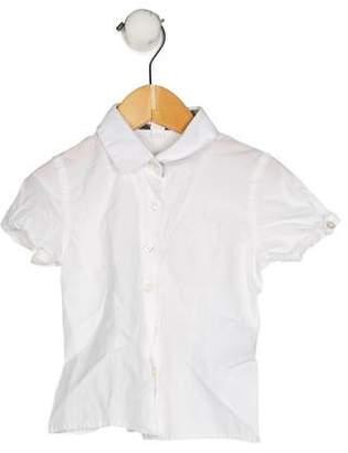 Burberry Girls' Short Sleeve Button-Up Top