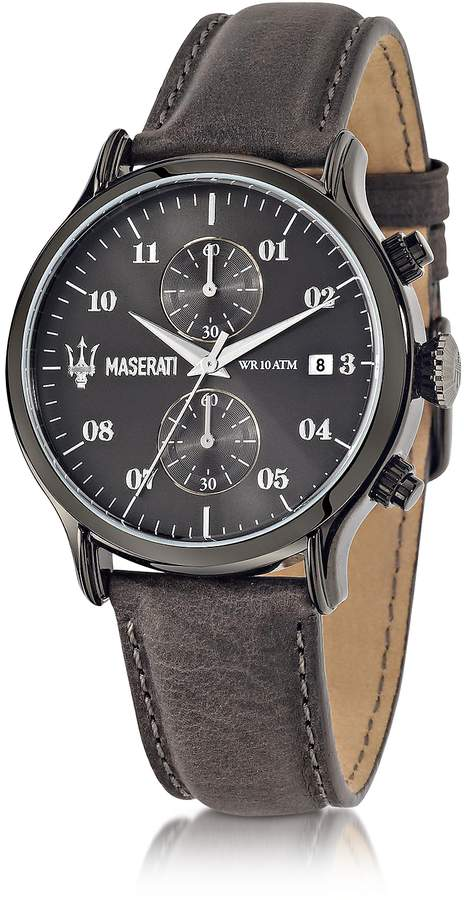 Epoca Maserati Chronograph Gray Dial and Leather Strap Men's Watch