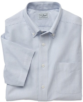 L.L. Bean L.L.Bean Men's Wrinkle-Free Classic Oxford Cloth Shirt, Traditional Fit Short-Sleeve University Stripe